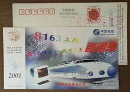 China 2001 Sanming Telecom Postal Stationery Card Electric Locomotive Through Railway Train - Trains