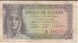 BILLETE DE ESPAÑA DE 5 PTAS DEL 13/02/1943 SERIE H ISABEL LA CATOLICA CALIDAD RC  (BANKNOTE) - 5 Pesetas