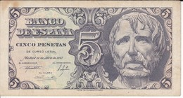 BILLETE DE ESPAÑA DE 5 PTAS DEL AÑO 1947 SERIE D  CALIDAD BC   (BANKNOTE) - 5 Pesetas