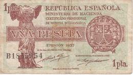 BILLETE DE ESPAÑA DE 1 PTA DEL AÑO 1937  SERIE B  (BANKNOTE) - [ 2] 1931-1936 : Republic