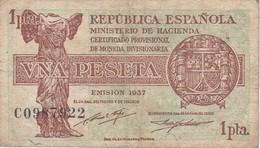 BILLETE DE ESPAÑA DE 1 PTA DEL AÑO 1937  SERIE C  CALIDAD BC (BANKNOTE) RARO - [ 2] 1931-1936 : Republic