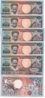 Suriname - 5 Pcs X 250 Gulden 1988 AUNC Ukr-OP - Surinam