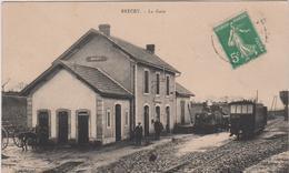 Manche :   BRECEY :   La  Gare , Train ( Destinée  à  Villedieu ) - France