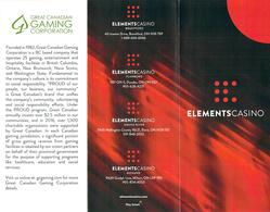 Elements Casino - Ontario Canada - Casino Brochure - Casino Cards