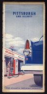 (5 Scans) PITTSBURGH - ROAD MAP - ATLANTIC REFINING Co. Publicité Pubblicità BROCHURE GUIDE 1950's (see Sales Conditions - Dépliants Turistici
