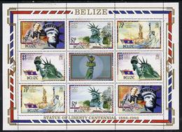 13076 Belize 1986 Centenary Of Statue Of Liberty Perf Sheetlet 2 Sets Of 4 Plus Label (statues Americana) - Belize (1973-...)
