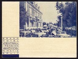 (4 Scans) CROATIA SPLIT GRAND HOTEL CENTRAL - BACVICE Publicité Pubblicità BROCHURE GUIDE 1933 (see Sales Conditions) - Dépliants Turistici