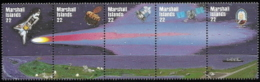 Marshall Isl,  Scott 2017 # 90a,  Issued 1985,  Strip Of 5,  MNH,  Cat $ 5.00,  Space - Midway Islands