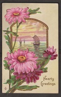 Sailboats & Flowers - Embossed - Used 1912 - Greetings From...