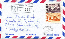 Canada Registered Air Mail Cover Sent To Switzerland Hamilton Ont. 3-12-1971 - Airmail