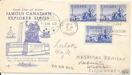 Canada FDC 4-6-1958 Ottawa Ontario Famous Canadian Explorer Series With Art Craft Cachet Sent To Denmark - First Day Covers