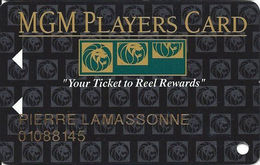 MGM Grand Casino - Las Vegas, NV - Slot Card - Your Ticket To Reel Rewards - Large Logo On Back - Casino Cards