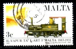 MALTE. N°661 Oblitéré De 1983. Locomotive à Vapeur. - Eisenbahnen