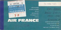 Billet D'avion Air France Prague Paris. 1965 - Billets D'embarquement D'avion