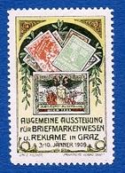 CINDERELLA : AUTRICHE : GRAZ 1909 - AUSSTELLUNG FUR BRIEFMARKENWESEN U. REKLAME - Cinderellas