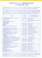 FRANCE - Programme Philatélique De 1994 - Otros