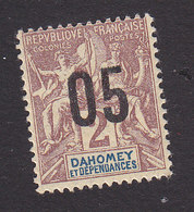 Dahomey, Scott #32, Mint Hinged, Navigation And Commerce Surcharged, Issued 1912 - Dahomey (1899-1944)