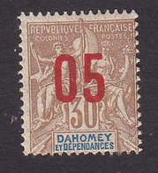 Dahomey, Scott #37, Mint Hinged, Navigation And Commerce Surcharged, Issued 1912 - Dahomey (1899-1944)
