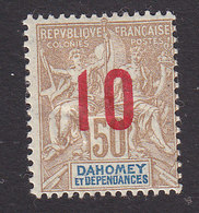 Dahomey, Scott #39, Mint Hinged, Navigation And Commerce Surcharged, Issued 1912 - Dahomey (1899-1944)