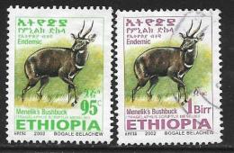 Ethiopia, Scott #1633-4 Used Menelik's Bushbuck, 2002 - Ethiopia