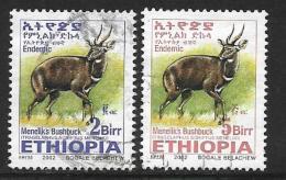Ethiopia, Scott #1635,1637 Used Menelik's Bushbuck, 2002 - Ethiopia
