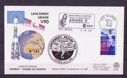 ESPACE - ARIANE Vol Du 1996/08 V90 - Conseil De L'Europe - 1 Enveloppe Vol - Europe