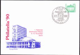 """DDR GDR RDA - Ganzsache  """"Kongreßhalle - Philatelia Berlin"""" (MiNr: PU 17/D2/001b) 1990 - Gest Used Obl - Privatumschläge - Gebraucht"""