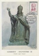 Carte  Maximum  1er  Jour   FRANCE    Pape  GERBERT   SYLVESTRE  II    AURILLAC   1964 - Cartes-Maximum