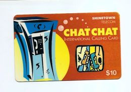 PHONECARD - SINGAPORE Shinetown CHIT CHAT Calling Card $10 USED - NO VALUE - Singapore