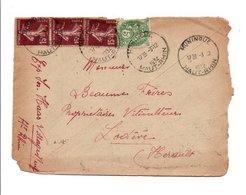 AFFRANCHISSEMENT COMPOSE SUR LETTRE DE HUNINGUE HAUT RHIN DU 3/12/1934 - Marcophilie (Lettres)