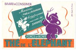 """Buvard 21 X 13.6 A. Thé De L'ELEPHANT Dessin D'après R.L. Dupuy  Au Verso Cachet De """"Epicerie Du Bon Coin Pazzagli M.* - Coffee & Tea"""