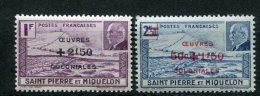 7790  SAINT-PIERRE-ET-MIQUELON  N°312/3 ** Timbres De 1941 (210/1)  Surchargés Oeuvres Coloniales  1944  TB - Ongebruikt