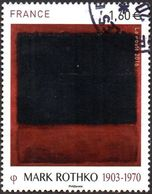 Oblitération Cachet à Date Sur Timbre De France N° 5030 Peinture De Mark Rothko 1903-1970 «Black, Red Over Black On Red» - France