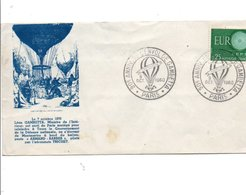 OBLITERATION 90 ANS DE L'ENVOL DE GAMBETTA PARIS 1960 - Postmark Collection (Covers)
