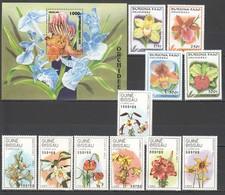 O412 1989,1996,1999 TOGOLAISE GUINE-BISSAU BURKINA FASO PLANTS FLOWERS ORCHIDS 2SET+1BL MNH - Plants