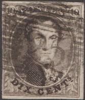 Belgique 1849 COB 3. 10 C. Brun. Médaillon P25 Charleroi. Au Verso, Pli De Papier D'origine (pli Accordéon ?) - 1849-1850 Medallions (3/5)