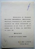 Faire-part Naissance Bruno Déjardin. - Limeté Congo Belge 1958. - Naissance & Baptême