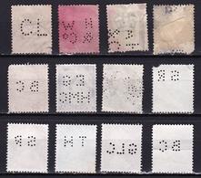 G.B. 1887-1981 Queen Victoria / Elizabeth II 12  Different Perfins As Shown On 2 Scans - Grossbritannien
