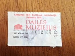 Art Museum Ticket Soviet Union Period Lithuania - Tickets D'entrée