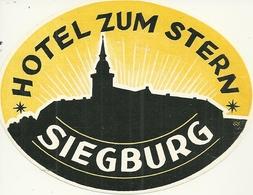 SIEGBURG ETIQUETTE PUBLCITE HOTEL ZUM STERN GERMANY ALLEMAGNE EUROPE - Hotel Labels