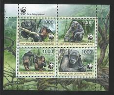 2012 Central African Republic WWF Central Chimpanzee Minisheet (** / MNH / UMM) - Ongebruikt