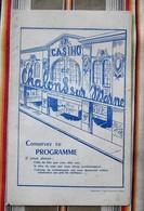 Rare 51 CHALONS SUR MARNE Programme Du CASINO 1950 (Cinema) TOP PUB - Programs