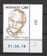 Monaco 2018 - Yv N° 3154 ** - Nelson Mandela ** (coin Daté) - Neufs