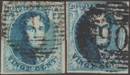 Belgique 1851 COB 7 X 2. 20 C. Bleu. Médaillon P90 Ostende - 2 Nuances - 1851-1857 Medaillen (6/8)