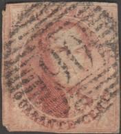 Belgique 1851 COB 8A. 40 C. Rouge-carmin. Médaillon P90 Ostende - Trou D'épingle - 1851-1857 Medaillen (6/8)