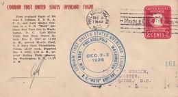 USA 1926 ENTIER POSTAL PLI AERIEN DE PHILADELPHIE  1er VOL NEW YORK-PHILADELPHIE-WASHINGTON - Ganzsachen