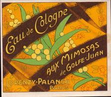 Etiquettes, Lorenzy-Palanca Paris, Eau De Cologne Aux Mimosas De Golfe-juan   (bon Etat) - Etiquettes