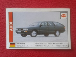 SPAIN ESPAGNE. ANTIGUO OLD CROMO ESTAMPA 1988 COCHES 89 COCHE CAR CARS AUTO AUTOMÓVIL AUDI 200 AVANT ALEMANIA GERMANY - Cromos