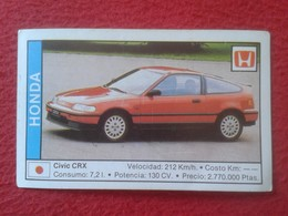 SPAIN ESPAGNE. ANTIGUO OLD CROMO ESTAMPA 1988 COCHES 89 COCHE CAR CARS AUTO AUTOMÓVIL HONDA CIVIC CRX JAPAN NIPPON JAPÓN - Cromos