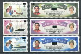 234 ZIL ELOIGNE SESEL Seychelles 1983 - Yvert 87/92 Surcharge - Mariage Royal - Neuf **(MNH) Sans Charniere - Seychelles (1976-...)